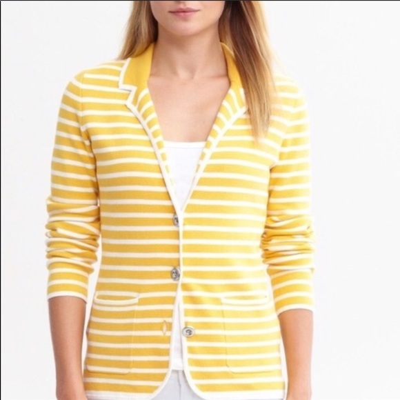 Banana Republic yellow and white striped blazer